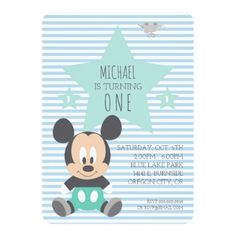 Mickey Mouse | First Birthday Card - click/tap to personalize and buy