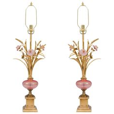 Midcentury Pair of Murano Glass Table Lamps with Pink Flowers