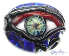 Eye Glass bead focal Blue lampwork protection of home by HollysFollyGlass, $45.00