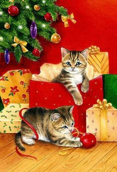Our key principles are Fairness, Ability, Creativity, Trust and that's a… Cat Christmas Cards, Christmas Card Pictures, Christmas Kitten, Christmas Scenes, Noel Christmas, Christmas Animals, Vintage Christmas Cards, Christmas Pictures, Christmas Greetings
