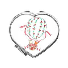 Rabbit & Fox Flying in the Fire Balloon Heart Compact Mirror Silver... (98 HRK) ❤ liked on Polyvore featuring beauty products and beauty accessories