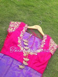 Blouse Neck Designs, Blouse Styles, Pink Saree Blouse, Kids Lehanga, Traditional Blouse Designs, Simple Sarees, Fashion Blouses, Designer Blouse Patterns, Blouse Models