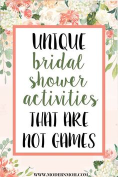 5 unique and interactive bridal shower activities that are not games. - - 5 unique and interactive bridal shower activities that are not games. All of these ideas are alternatives to traditional bridal shower games. Bridal Shower Planning, Bridal Shower Invitations, Bridal Shower Checklist, Wedding Planning, Wedding Stationery, Bridal Shower Activities, Fun Bridal Shower Games, Ideas For Bridal Shower, Alternative Bridal Shower Gifts