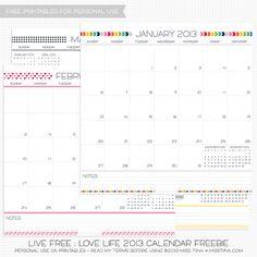 2013 Calendar – free printables
