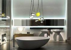 Impressive group of Capsula lights in Agape showroom. Brokis lighting - design Lucie Koldova.