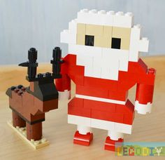 There are our LEGO Santa & deer: Santa's back: Santa's instruction Simple Santa's bottom: Arms: Result: The instruction for lego deer here. Related posts:LEGO ElephantLEGO PigLEGO TigerLEGO Plane v.2