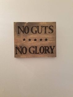 No Guts Glory Sign Army Decor Military Man Cave Rustic Entryway Office Living Room Dorm