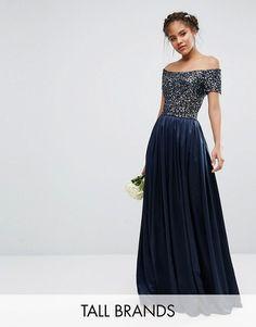 Maya Tall   Maya Tall Sequin Top Bardot Maxi Sateen Skirt Dress