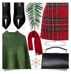 """""""Green & Red Christmas"""" by loloksage ❤ liked on Polyvore featuring New Look, Yves Saint Laurent, Nika and John Lewis"""