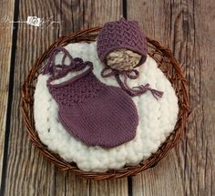Newborn Photo Prop;Lace Baby Romper;Lace Baby Bonnet;Baby Onesie;Hand Knit;Lace Baby Outfit;Baby Photo Outfit;Purple Lace Romper;'Grace'