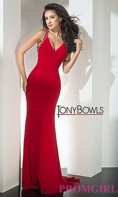 Long Open Back V-Neck Tony Bowls Prom Dress at PromGirl.com Sexy Evening 9c129141f