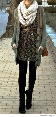 Love the dress belted scarf long cardi and tights. Wear more dresses. So feminine