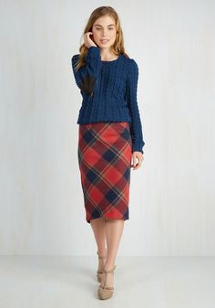 Scholar ID Skirt in Red. As praise for your academic accomplishments comes rolling in, your prowess - regarding both books and garb - is easily recognized in this plaid pencil skirt. #multi #modcloth