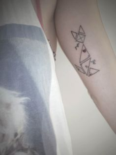 geometric cat tattoo