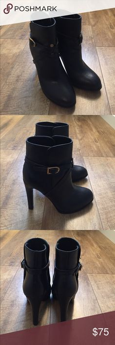 Tory Burch Black Leather Ankle Boots Size 7 Worn twice! So cute on. Small knick on inside of heel. See photo. Cannot tell when on. Comes without box. Tory Burch Shoes Ankle Boots & Booties