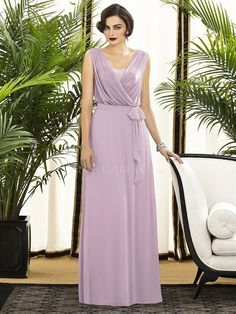V Neck With Sequins Chiffon Sheath/ Column Floor Length Hook and Eye Closure Bridesmaid Gown