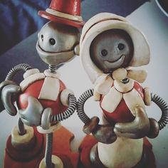 To perhaps add a little cheer to your day Pilgrim bots | Handmade by HerArtSheLoves of Robots Are Awesome http://theawesomerobots.com