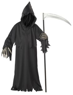 Grim Reaper Deluxe with Vinyl Hands Child Costume Includes: Robe, hood and gloves. Shoes and weapon not included. Weight (lbs) 0.75 Length (inches) 14 Width (inches) 11 Height(inches) 2