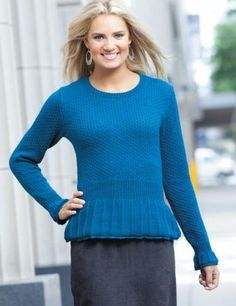 Only Peplum Knitted Pullover Women Blue