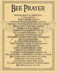 Bee Prayer Poster Wicca Pagan Witch Witchcraft Goth Punk Book of Shadows Animal Spirit Guides, I Love Bees, Pagan Witch, Witches, Bee Art, Animal Totems, Save The Bees, Bee Keeping, Book Of Shadows