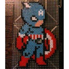 Captain America perler beads by thebeardedperler