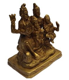 <b>Content: </b>Pure Brass Lord Shiva with Parvati Kartik and Ganesh<br> <b>Dimensions: </b>12 cm Height and 10 cm Length <b>Material: </b>Brass<br>