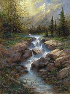 Mountain Cascade by Jon McNaughton cool waters warm light mountains river trees landscaping painting art Watercolor Landscape, Landscape Art, Landscape Paintings, Pictures To Paint, Nature Pictures, Beautiful Paintings, Beautiful Landscapes, Jon Mcnaughton, Waterfall Paintings