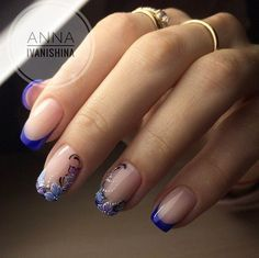 Easy Nail Art Designs for Women 2018 - Our Nail Simple Nail Art Designs, Cute Nail Designs, Easy Nail Art, Flower Designs For Nails, Fancy Nails, Pretty Nails, Blue Nails, My Nails, French Tip Nails