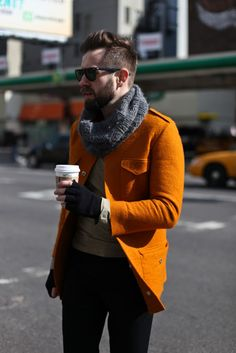 orange jacket and a cool scarf