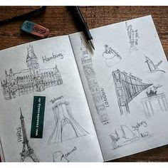 Hamburg meine Perle und andere.... #hamburg #newyork #england #bigben #rathaus #eifelturm #sketchbook #skizzenbuch #illustration #gebäudeillustration #zeichnen #doodletime #rauschsinng #design #grafikdesign #designerin #strichzeichnung #arts_gallery #hamb