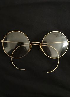 ebdc79610064 Vtg 60s Big Perfectly Round Janis Joplin Eyeglasss Frame John Lennon Gold  Tone Adult Size Hippy Spectacles. Steampunk. USA. 51mm lens