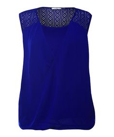 Look what I found on #zulily! Electric Blue Crochet-Panel Hi-Low Surplice Top - Plus by Devoted #zulilyfinds