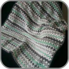 Crochet blanket, granny stripe, mint/grey/white. Gehaakte sprei, granny stripe, mint/grijs/wit