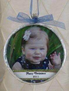 "3"" Circle Photo Ornament. $40.00, via Etsy."