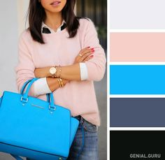 Light pink and turquoise + neutrals (grey and black)