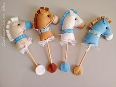 The horse are hand cut from wool blend felt and hand stitched using cotton thread and are approx tall. Cowboy Baby Shower, Baby Boy Shower, Sewing Toys, Sewing Crafts, Felt Crafts, Diy And Crafts, Horse Party Decorations, Stick Horses, Baby Sewing Projects