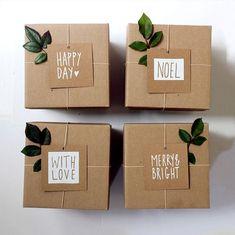 pretty craft paper gift wrap idea