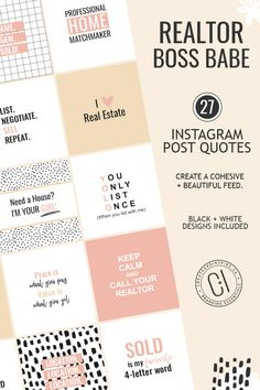 Looking to UPLIFT + INSPIRE your Social Media followers? We've got you covered with our ready-to-post Realtor Instagram Quotes! Simply post to your Instagram feed and INSPIRE YOUR TRIBE!