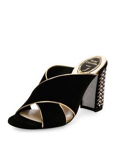 Studded+Suede+Block-Heel+Mule+Pump,+Black+by+Rene+Caovilla+at+Bergdorf+Goodman.