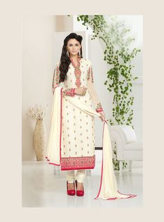Off White Georgette Straight Cut Suit 87936