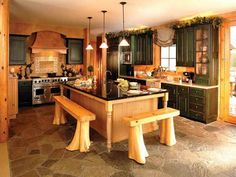 This is Unique Kitchen Designs - Design of Kitchen Designs - Unique Kitchen Designs - Beautiful Kitchen Design - Elegant New kitchen Designs - Free Interior Ideas - AL Habib Rustic Italian Decor, Italian Kitchen Decor, Rustic Kitchen Island, Rustic Kitchen Cabinets, Rustic Kitchen Design, Kitchen Cabinet Design, New Kitchen, Kitchen Ideas, Wooden Kitchen