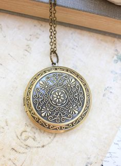 Large Round Locket Necklace Gold Floral by apocketofposies on Etsy