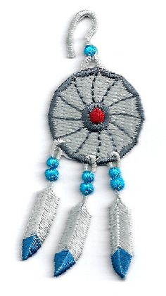 Southwest Design - Dream-Catcher - Feathers - Embroidered Iron On Applique Patch