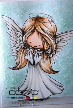 And it's my turn to provide a Copic Tutorial. Christmas Angels, Christmas Art, Angel Drawing, Glitter Background, Glitter Backdrop, Glitter Balloons, Angel Pictures, Christmas Drawing, Angel Art