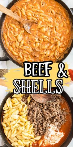 Creamy Beef and Shells is a hearty pasta dish that is perfect for a quick dinner for the whole family! Comfort food for those busy weeknights, it includes tomatoes, cream, and cheddar cheese, and is the perfect meal for anyone who loves cheeseburgers and macaroni and cheese. It is rich, flavorful, and cheesy and even your picky kids will love it!