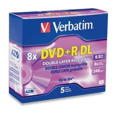 Verbatim 95311 8.5 GB 8x-10x Double Layer Recordable Disc DVD+R DL, 5-Disc Slim Case by Verbatim. $11.54. Amazon.com                Featuring 8.5 GB of recording capacity--enough for four hours of DVD- quality  TV and video or 16 hours of VHS-quality footage--this five-pack of double-layer 8x  DVD+R discs is ideal for large-scale video projects and data storage. The discs  offer  nearly double the capacity of standard DVD+R formats, with two AZO recording  layers  on ...