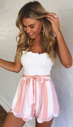 outfit summer shorts Pink White Striped Shorts Women Fashion 2018 Summer High Waist Frills Shorts Streetwear Bow Tie Streetwear Shorts Bottoms Source by shorts outfits Moda Outfits, Komplette Outfits, Cute Casual Outfits, Teen Fashion Outfits, Cute Summer Outfits, Short Outfits, Outfits For Teens, Short Dresses, Fashion Dresses