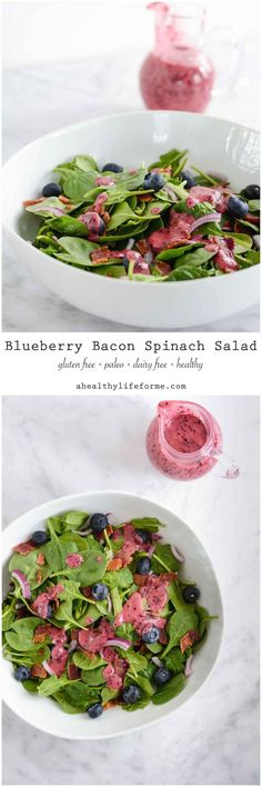 Blueberry Bacon Spinach Salad {paleo + gluten free} Healthy, delicious and quick to put together- A Healthy Life For Me Source by AHLF. Bacon Spinach Salad, Spinach Salad Recipes, Easy Salads, Healthy Salad Recipes, Paleo Recipes, Healthy Snacks, Healthy Eating, Healthy Life, Korean Recipes