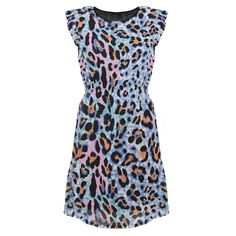 £15.99 SIZE 8 ONLY Bright Animal Print Shift Dress.  With balck tights and a blazer