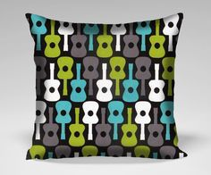 Items similar to Groovy Guitar Throw Pillow Cushion Case Cover - (any size) on Etsy Michael Miller, Pillow Cases, Pillows, Holiday Decor, Unique Jewelry, Cover, Creative, Handmade Gifts, Inspiration